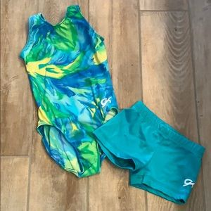 Girls gymnastics Leotard shorts bundle GK sz CM